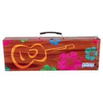 Mahalo szoprán ukulele utazótok, színes, virágos, fém kemény tok