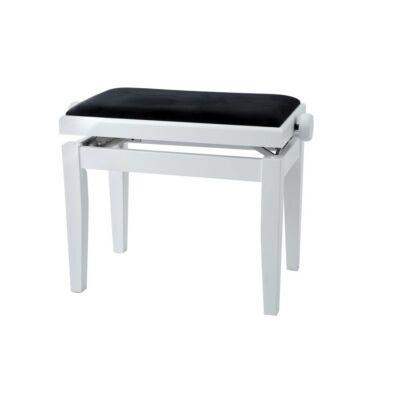 Gewa Deluxe zongorapad, matt fehér, fekete ülés, egyenes láb