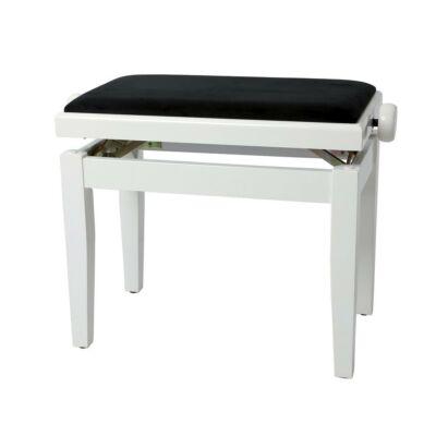 Gewa Deluxe zongorapad, lakk fehér, fekete ülés, egyenes láb