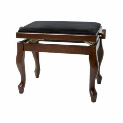 Gewa Deluxe Classic zongorapad, matt, dió, fekete ülés, ívelt láb