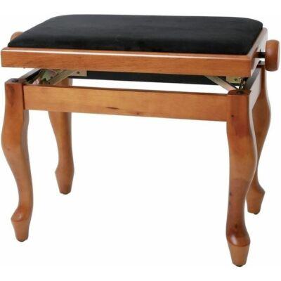 Gewa Deluxe Classic zongorapad, zongoraszék, matt cseresznye, fekete ülés, ívelt láb