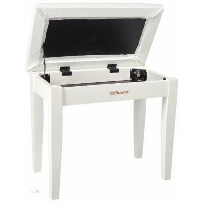 Roland zongorapad, zongoraszék, fehér, műbőr ülés, egyenes láb, ülés alatti kottatartóval
