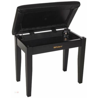 Roland zongorapad, fekete, műbőr ülés, egyenes láb, ülés alatti kottatartóval