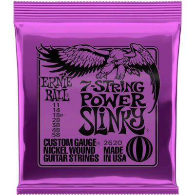 Ernie Ball 11-58 7 str. Nickel Wound Power Slinky - elektromos gitár húrkészlet 7 húros gitárhoz