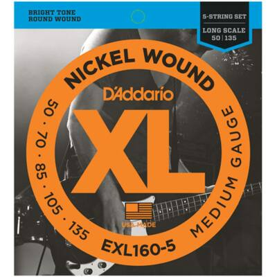 Daddario EXL160-5 Medium Gauge .050-.135 - basszusgitár húrkészlet 5 húros basszusgitárhoz