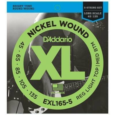 Daddario EXL165-5 Reg Light Top / Med Bottom 045-135 - basszusgitár húrkészlet