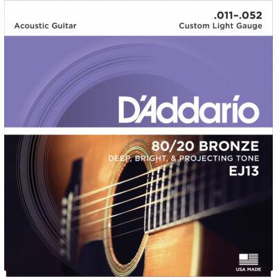 Daddario EJ13 11-52 80/20 Bronze Custom Light - western gitár húrkészlet