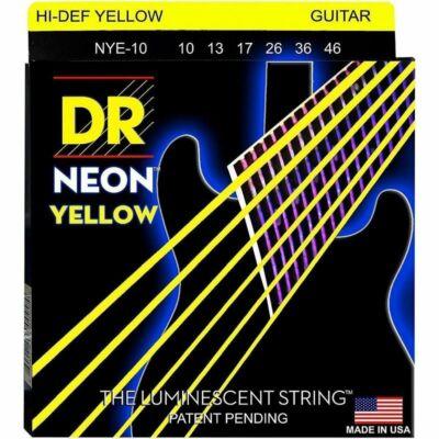 DR Strings NYE-10 elektromos gitárhúrkészlet Neon Sárga 10-46